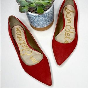 "Sam Edelman ""Rae"" Red Pointed Toe Flats size 7.5"